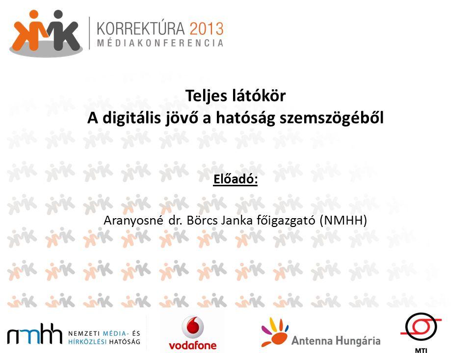 Teljes látókör A digitális jövő a hatóság szemszögéből Előadó: Aranyosné dr.