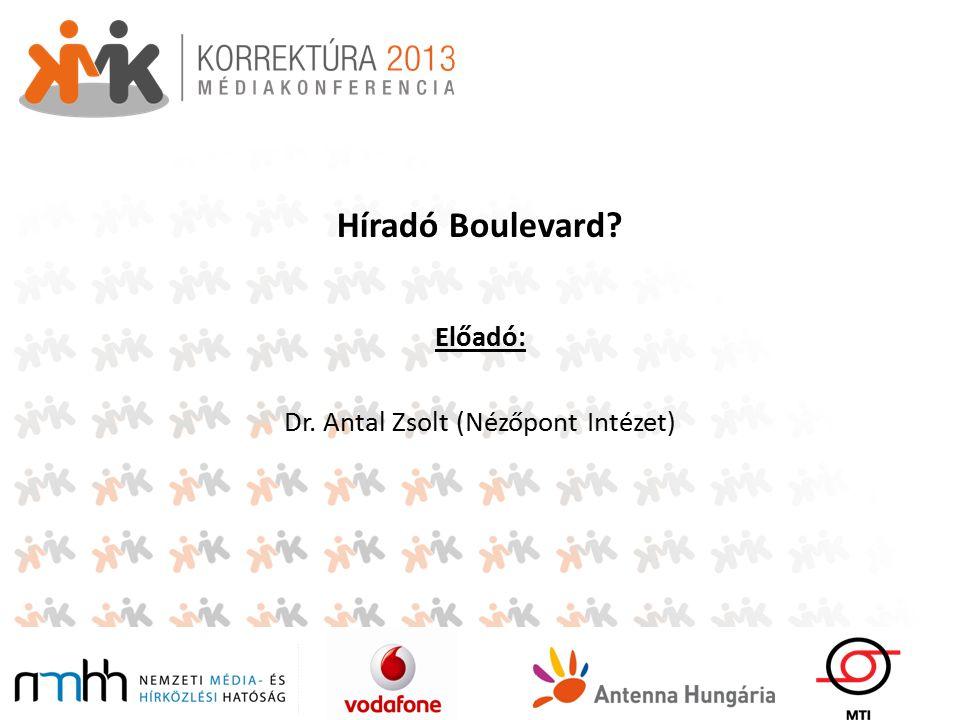 Híradó Boulevard Előadó: Dr. Antal Zsolt (Nézőpont Intézet)