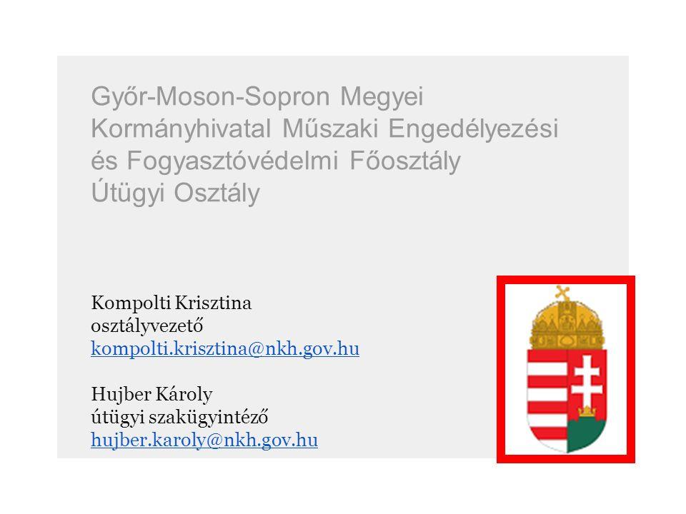 1991 – 2006 Győr-Moson-Sopron Megyei Közlekedési Felügyelet 2007 – 2010 Nemzeti Közlekedési Hatóság 2011 – 2015 Győr-Moson-Sopron Megyei Kormányhivatal Közlekedési Felügyelősége 2015.