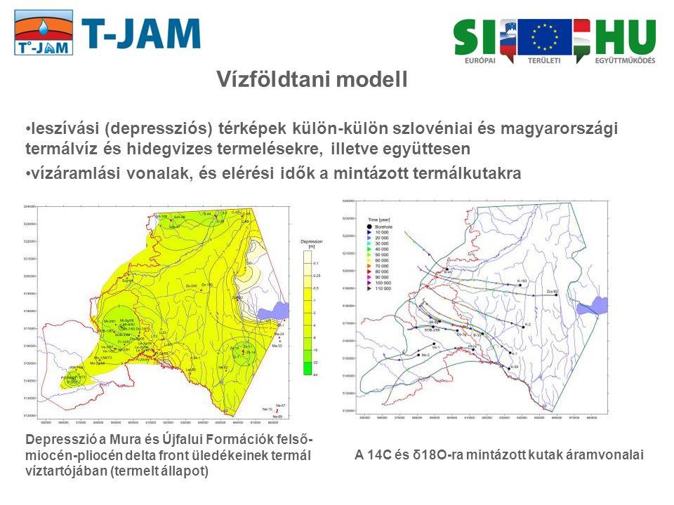 leszívási (depressziós) térképek külön-külön szlovéniai és magyarországi termálvíz és hidegvizes termelésekre, illetve együttesen vízáramlási vonalak,