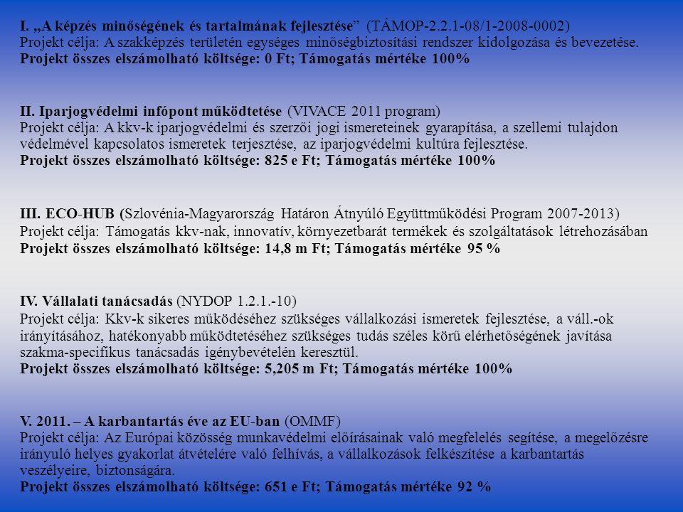 """I. """"A képzés minőségének és tartalmának fejlesztése"""" (TÁMOP-2.2.1-08/1-2008-0002) Projekt célja: A szakképzés területén egységes minőségbiztosítási re"""