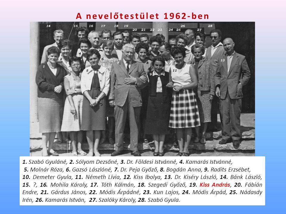 A nevelőtestület 1962-ben 1. Szabó Gyuláné, 2. Sólyom Dezsőné, 3.