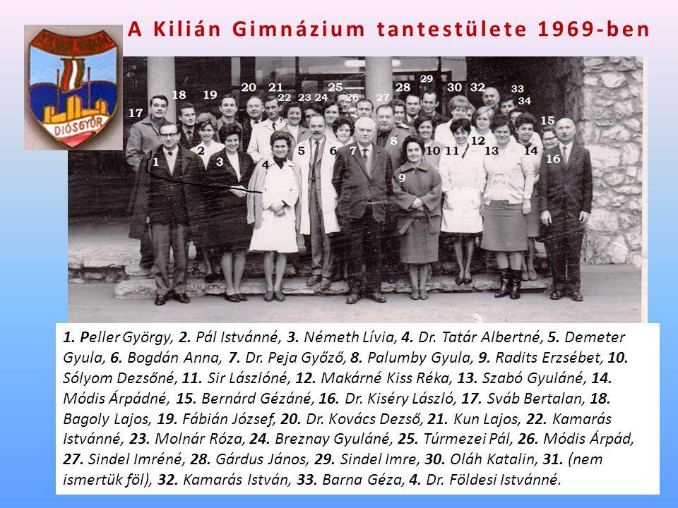 A Kilián Gimnázium tantestülete 1969-ben 1. Peller György, 2.