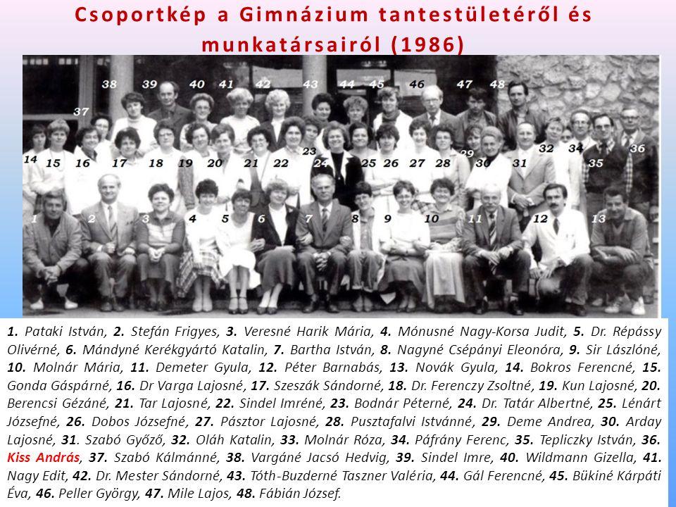 Csoportkép a Gimnázium tantestületéről és munkatársairól (1986) 1.