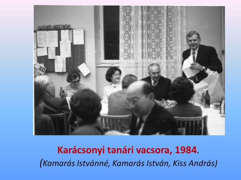 Karácsonyi tanári vacsora, 1984. ( Kamarás Istvánné, Kamarás István, Kiss András)