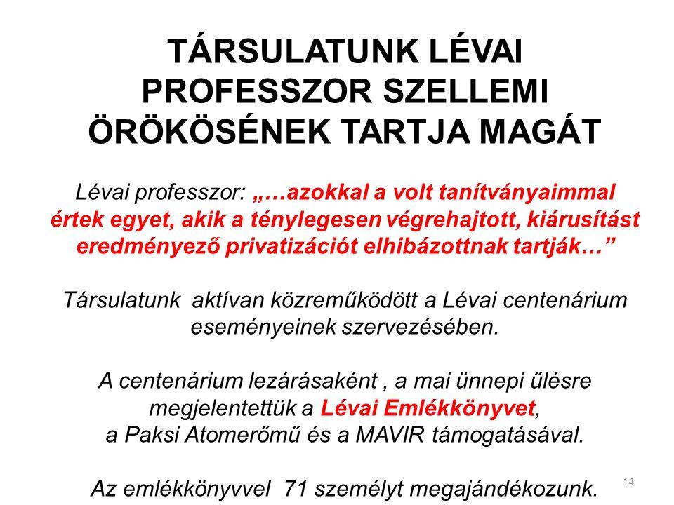"""TÁRSULATUNK LÉVAI PROFESSZOR SZELLEMI ÖRÖKÖSÉNEK TARTJA MAGÁT Lévai professzor: """"…azokkal a volt tanítványaimmal értek egyet, akik a ténylegesen végrehajtott, kiárusítást eredményező privatizációt elhibázottnak tartják… Társulatunk aktívan közreműködött a Lévai centenárium eseményeinek szervezésében."""