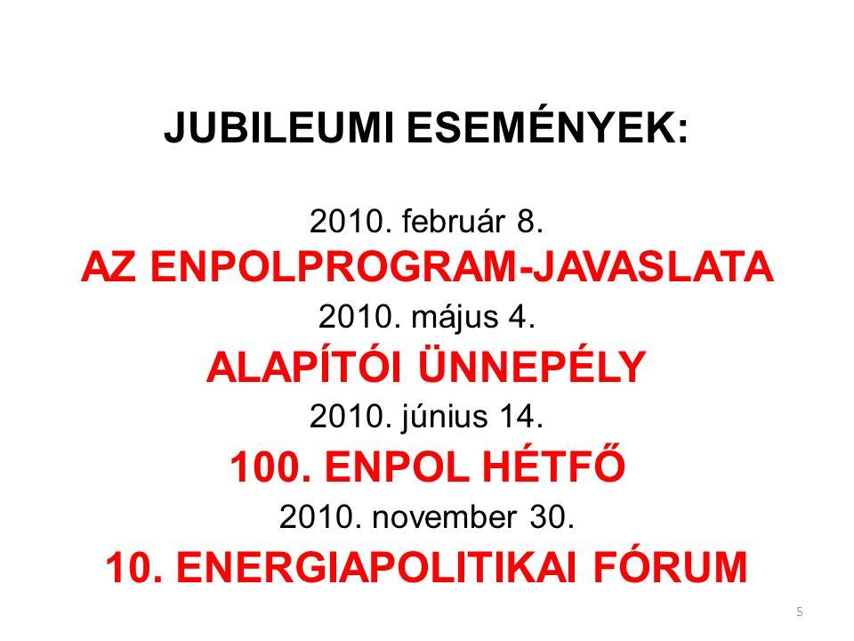 JUBILEUMI ESEMÉNYEK: 2010. február 8. AZ ENPOLPROGRAM-JAVASLATA 2010.