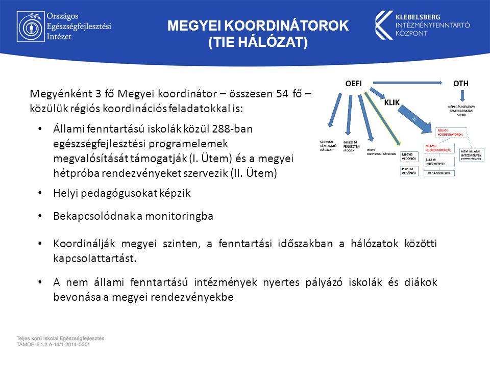 MEGYEI KOORDINÁTOROK (TIE HÁLÓZAT) Megyénként 3 fő Megyei koordinátor – összesen 54 fő – közülük régiós koordinációs feladatokkal is: Helyi pedagógusokat képzik Bekapcsolódnak a monitoringba Koordinálják megyei szinten, a fenntartási időszakban a hálózatok közötti kapcsolattartást.