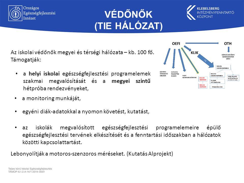 VÉDŐNŐK (TIE HÁLÓZAT) az iskolák megvalósított egészségfejlesztési programelemeire épülő egészségfejlesztési tervének elkészítését és a fenntartási időszakban a hálózatok közötti kapcsolattartást.