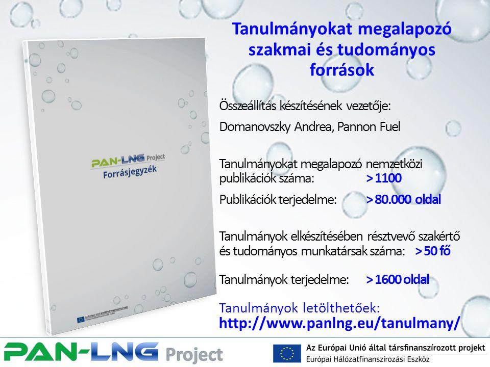 Tanulmányokat megalapozó szakmai és tudományos források Összeállítás készítésének vezetője: Domanovszky Andrea, Pannon Fuel Tanulmányokat megalapozó n