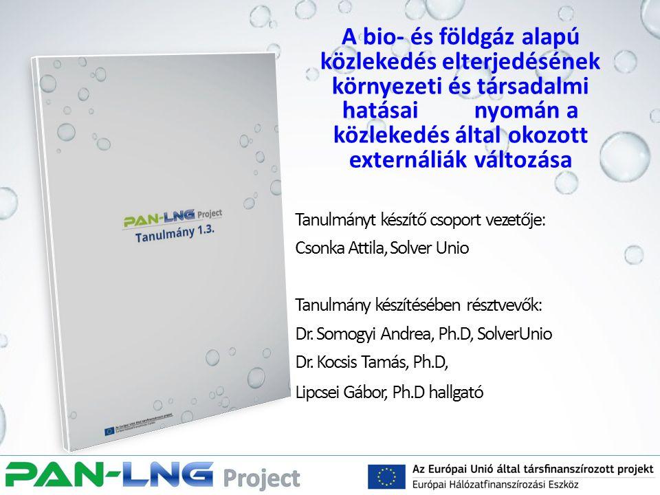 A bio- és földgáz alapú közlekedés elterjedésének környezeti és társadalmi hatásai nyomán a közlekedés által okozott externáliák változása Tanulmányt