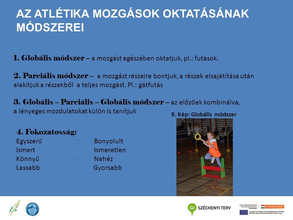 AZ ATLÉTIKA MOZGÁSOK OKTATÁSÁNAK MÓDSZEREI 1. Globális módszer – a mozgást egészében oktatjuk, pl.: futások. 2. Parciális módszer – a mozgást részeire