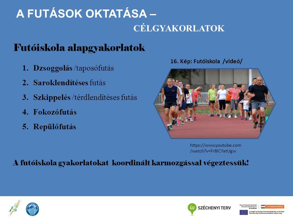A FUTÁSOK OKTATÁSA – CÉLGYAKORLATOK Futóiskola alapgyakorlatok 1.Dzsoggolás /taposófutás 2.Saroklendítéses futás 3.Szkippelés /térdlendítéses futás 4.Fokozófutás 5.Repülőfutás A futóiskola gyakorlatokat koordinált karmozgással végeztessük.