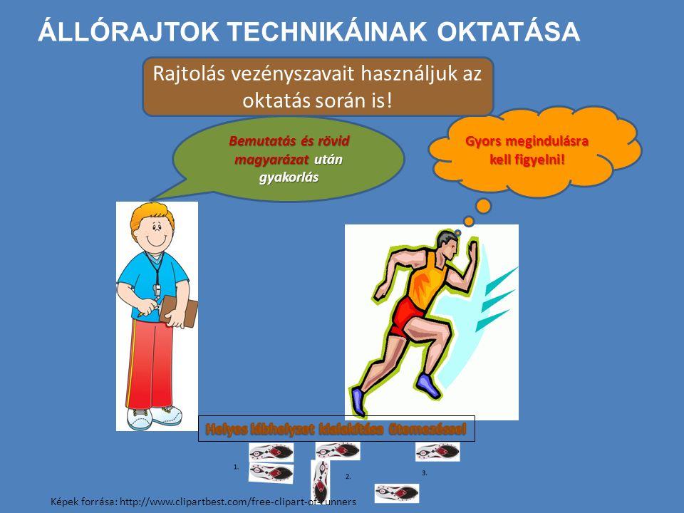 ÁLLÓRAJTOK TECHNIKÁINAK OKTATÁSA Bemutatás és rövid magyarázat után gyakorlás Gyors megindulásra kell figyelni! Rajtolás vezényszavait használjuk az o