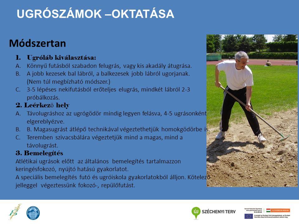 UGRÓSZÁMOK –OKTATÁSA Módszertan 1.Ugróláb kiválasztása: A.Könnyű futásból szabadon felugrás, vagy kis akadály átugrása. B.A jobb kezesek bal lábról, a