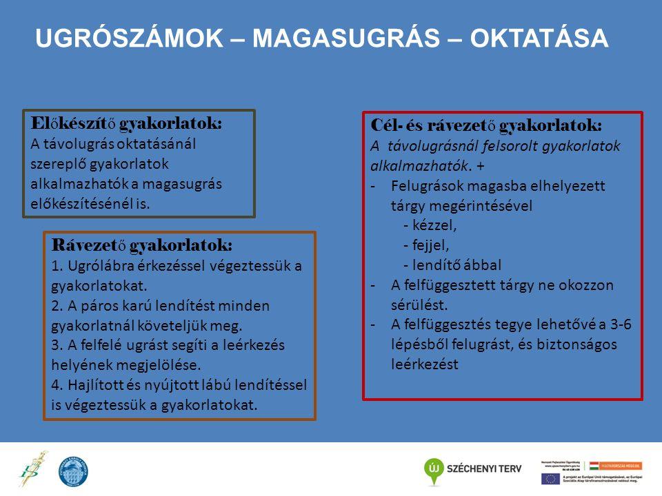 UGRÓSZÁMOK – MAGASUGRÁS – OKTATÁSA El ő készít ő gyakorlatok: A távolugrás oktatásánál szereplő gyakorlatok alkalmazhatók a magasugrás előkészítésénél