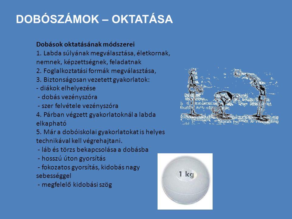 DOBÓSZÁMOK – OKTATÁSA Dobások oktatásának módszerei 1. Labda súlyának megválasztása, életkornak, nemnek, képzettségnek, feladatnak 2. Foglalkoztatási