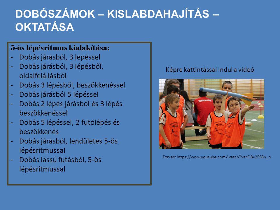 DOBÓSZÁMOK – KISLABDAHAJÍTÁS – OKTATÁSA 5-ös lépésritmus kialakítása: -Dobás járásból, 3 lépéssel -Dobás járásból, 3 lépésből, oldalfelállásból -Dobás