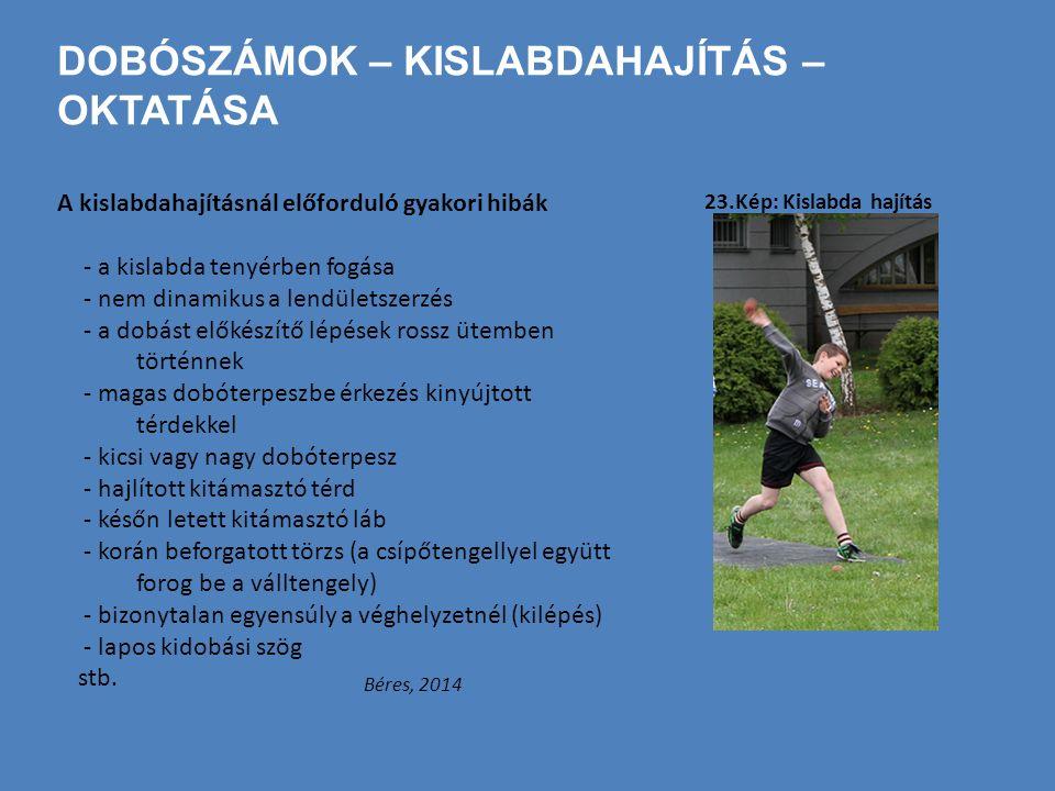 DOBÓSZÁMOK – KISLABDAHAJÍTÁS – OKTATÁSA A kislabdahajításnál előforduló gyakori hibák - a kislabda tenyérben fogása - nem dinamikus a lendületszerzés