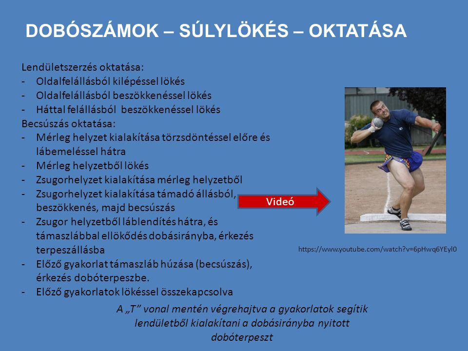 DOBÓSZÁMOK – SÚLYLÖKÉS – OKTATÁSA Lendületszerzés oktatása: -Oldalfelállásból kilépéssel lökés -Oldalfelállásból beszökkenéssel lökés -Háttal felállás