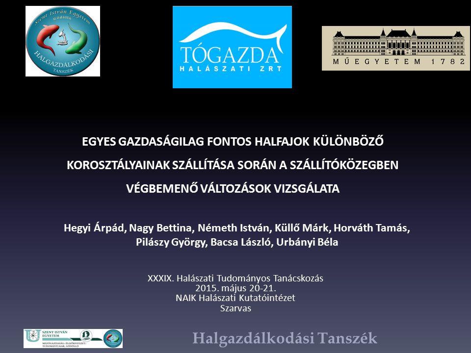 Halgazdálkodási Tanszék XXXIX. Halászati Tudományos Tanácskozás 2015.