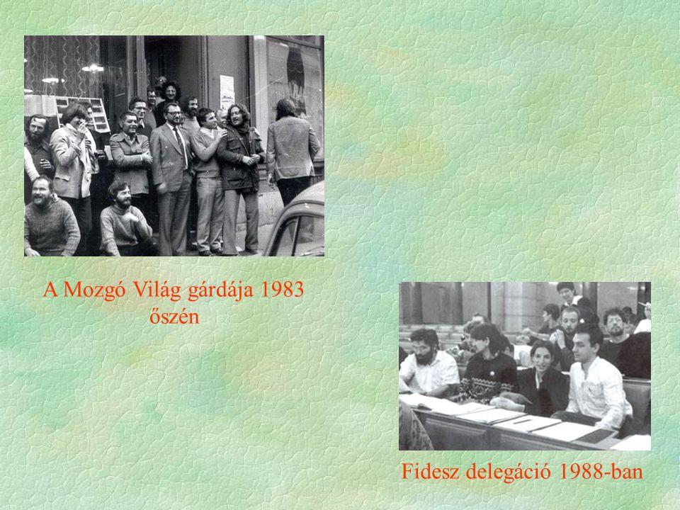 A Mozgó Világ gárdája 1983 őszén Fidesz delegáció 1988-ban