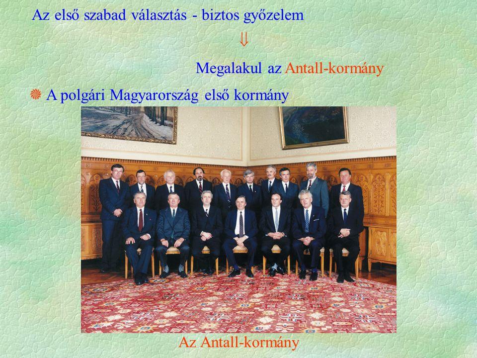 Az első szabad választás - biztos győzelem  Megalakul az Antall-kormány  A polgári Magyarország első kormány Az Antall-kormány