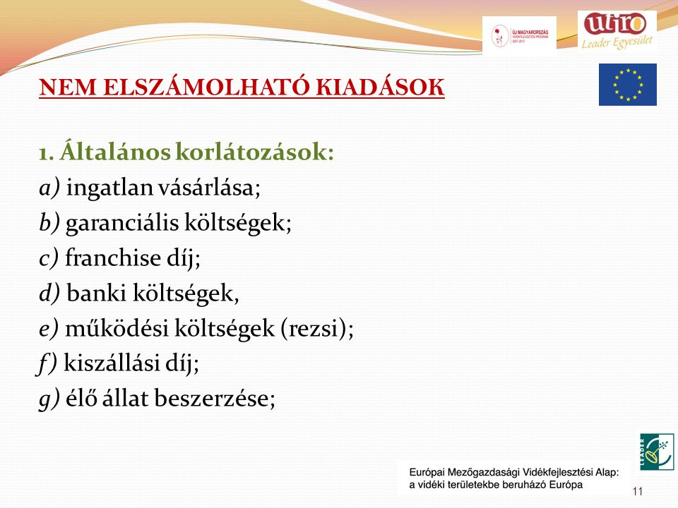 NEM ELSZÁMOLHATÓ KIADÁSOK 1.