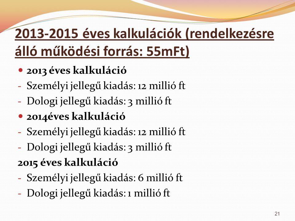 2013-2015 éves kalkulációk (rendelkezésre álló működési forrás: 55mFt) 2013 éves kalkuláció - Személyi jellegű kiadás: 12 millió ft - Dologi jellegű k