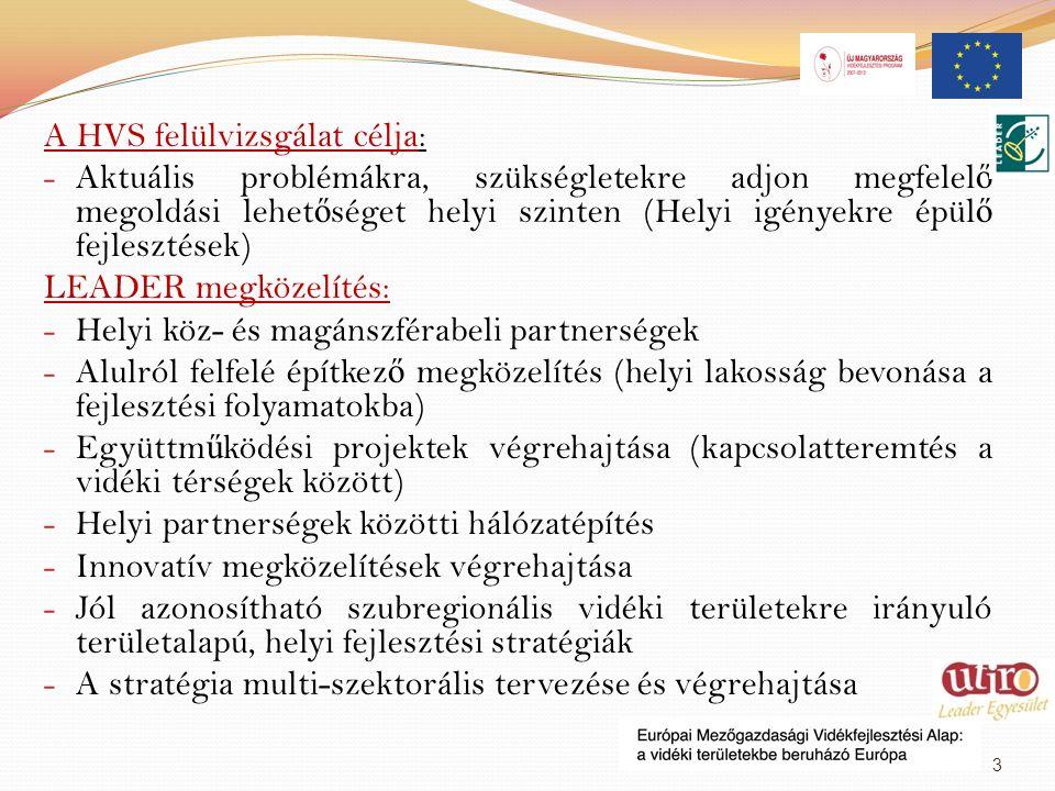 A HVS felülvizsgálat célja: - Aktuális problémákra, szükségletekre adjon megfelel ő megoldási lehet ő séget helyi szinten (Helyi igényekre épül ő fejlesztések) LEADER megközelítés: - Helyi köz- és magánszférabeli partnerségek - Alulról felfelé építkez ő megközelítés (helyi lakosság bevonása a fejlesztési folyamatokba) - Együttm ű ködési projektek végrehajtása (kapcsolatteremtés a vidéki térségek között) - Helyi partnerségek közötti hálózatépítés - Innovatív megközelítések végrehajtása - Jól azonosítható szubregionális vidéki területekre irányuló területalapú, helyi fejlesztési stratégiák - A stratégia multi-szektorális tervezése és végrehajtása 3