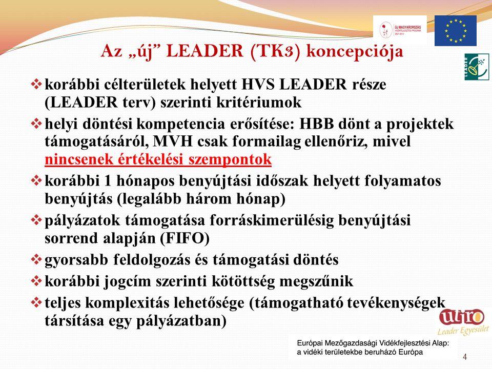 """Az """"új"""" LEADER (TK3) koncepciója  korábbi célterületek helyett HVS LEADER része (LEADER terv) szerinti kritériumok  helyi döntési kompetencia erősít"""