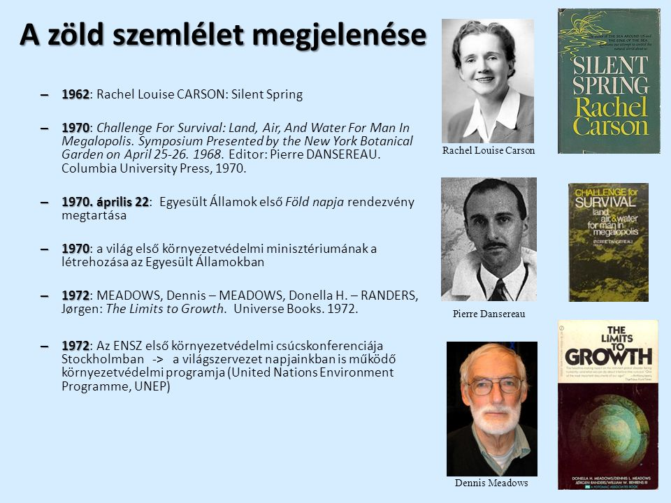 A zöld szemlélet megjelenése – 1962 – 1962: Rachel Louise CARSON: Silent Spring – 1970 – 1970: Challenge For Survival: Land, Air, And Water For Man In Megalopolis.