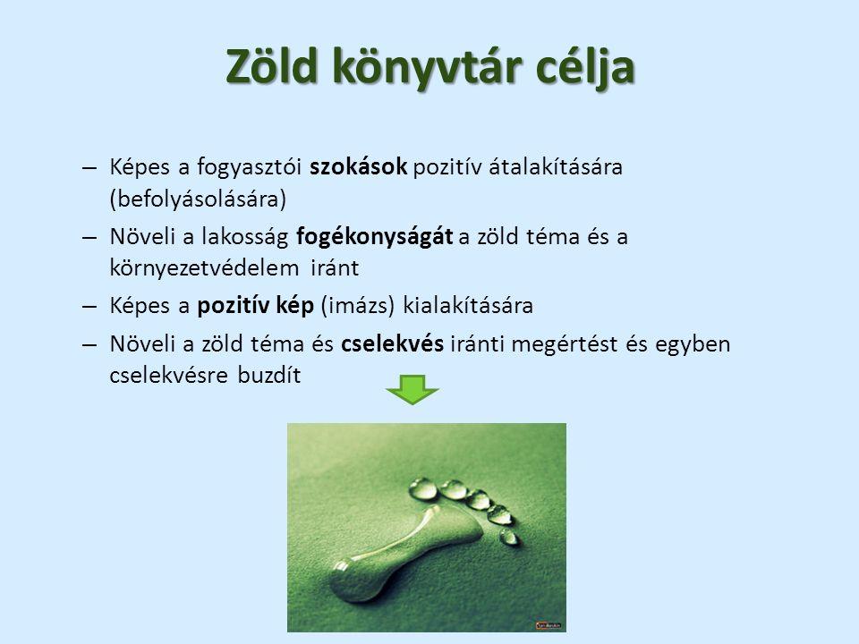 Zöld könyvtár célja – Képes a fogyasztói szokások pozitív átalakítására (befolyásolására) – Növeli a lakosság fogékonyságát a zöld téma és a környezetvédelem iránt – Képes a pozitív kép (imázs) kialakítására – Növeli a zöld téma és cselekvés iránti megértést és egyben cselekvésre buzdít
