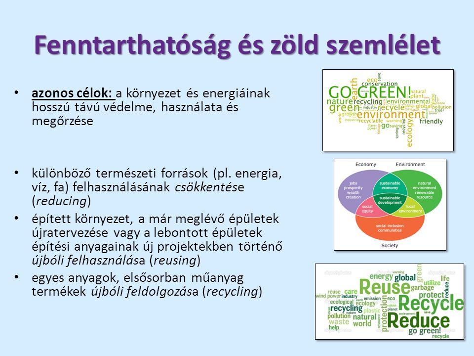 Fenntarthatóság és zöld szemlélet azonos célok: a környezet és energiáinak hosszú távú védelme, használata és megőrzése különböző természeti források (pl.
