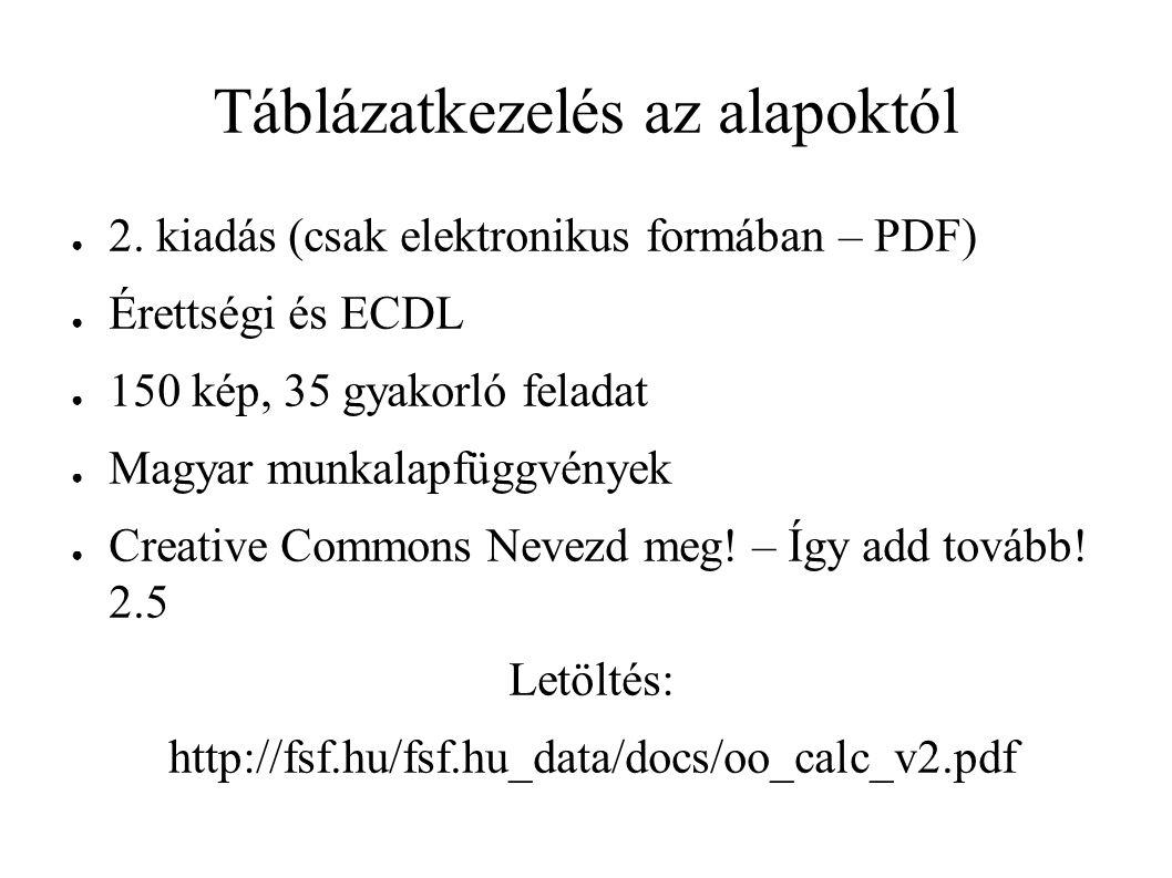 Táblázatkezelés az alapoktól ● 2.