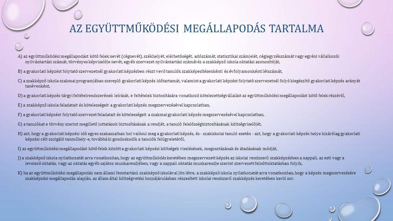AZ EGYÜTTMŰKÖDÉSI MEGÁLLAPODÁS TARTALMA A) az együttműködési megállapodást kötő felek nevét (cégnevét), székhelyét, elérhetőségét, adószámát, statiszt