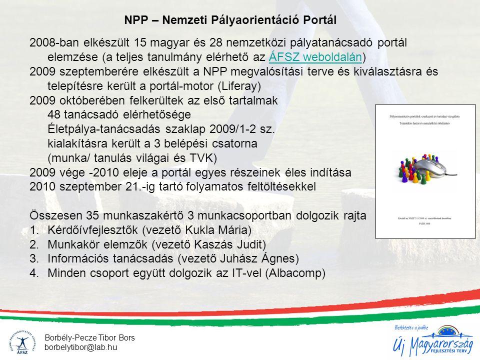 Borbély-Pecze Tibor Bors borbelytibor@lab.hu NPP – Nemzeti Pályaorientáció Portál 2008-ban elkészült 15 magyar és 28 nemzetközi pályatanácsadó portál