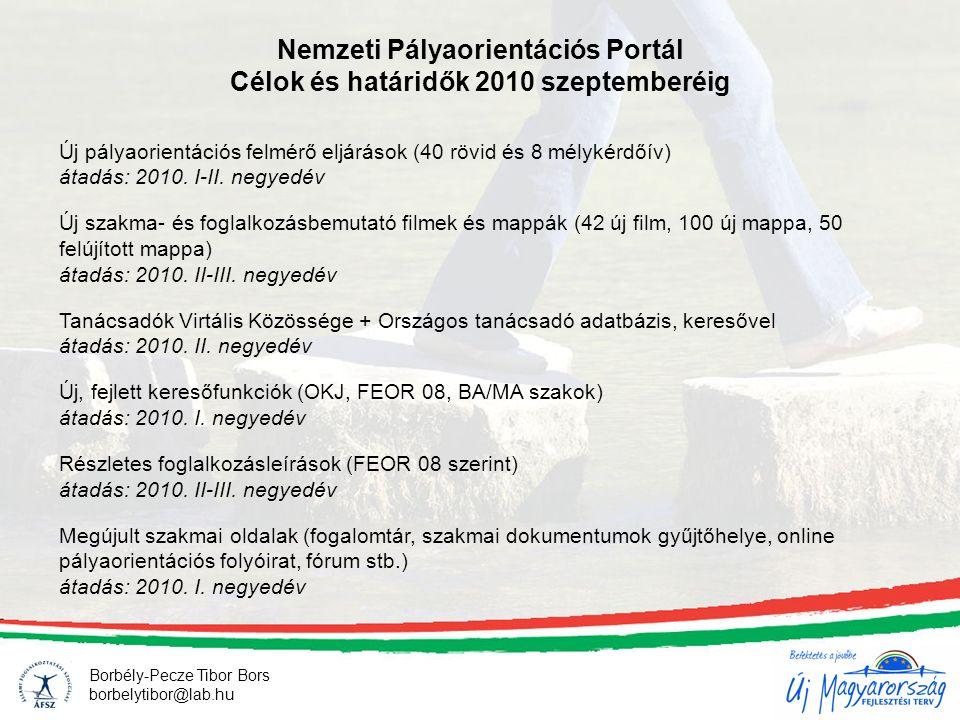 Nemzeti Pályaorientációs Portál Célok és határidők 2010 szeptemberéig Új pályaorientációs felmérő eljárások (40 rövid és 8 mélykérdőív) átadás: 2010.
