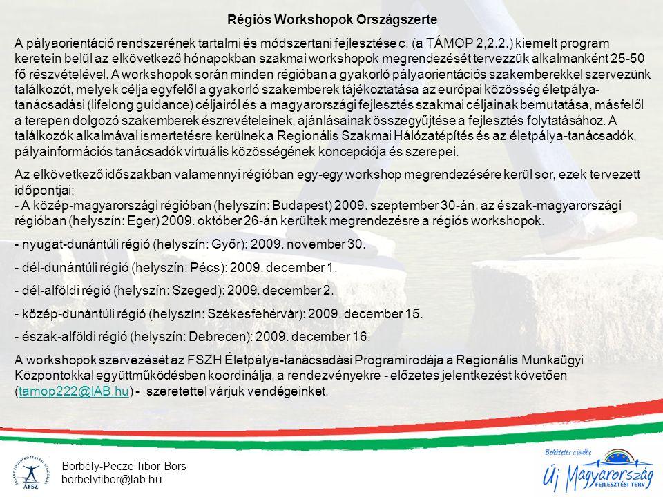 Borbély-Pecze Tibor Bors borbelytibor@lab.hu Régiós Workshopok Országszerte A pályaorientáció rendszerének tartalmi és módszertani fejlesztése c.