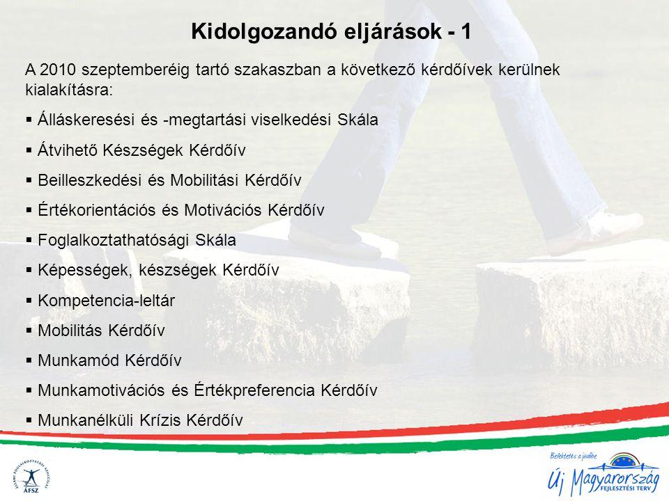 Kidolgozandó eljárások - 1 A 2010 szeptemberéig tartó szakaszban a következő kérdőívek kerülnek kialakításra:  Álláskeresési és -megtartási viselkedé