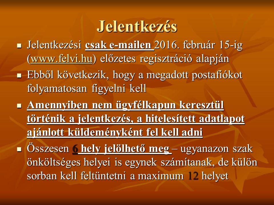 Jelentkezés Jelentkezési csak e-mailen 2016. február 15-ig (www.felvi.hu) előzetes regisztráció alapján Jelentkezési csak e-mailen 2016. február 15-ig