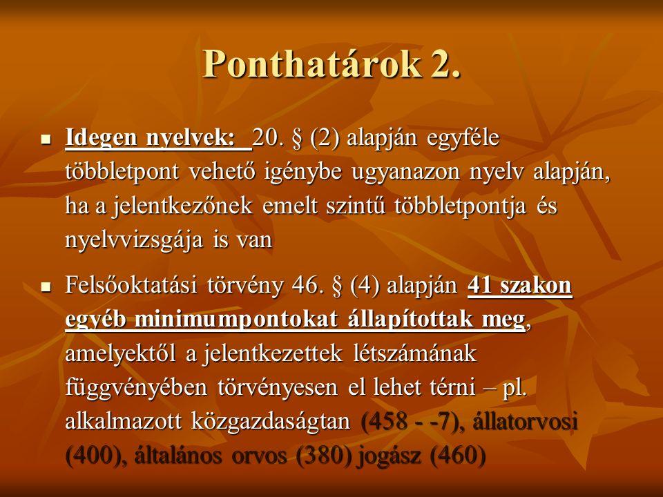 Ponthatárok 2. Idegen nyelvek: 20. § (2) alapján egyféle többletpont vehető igénybe ugyanazon nyelv alapján, ha a jelentkezőnek emelt szintű többletpo