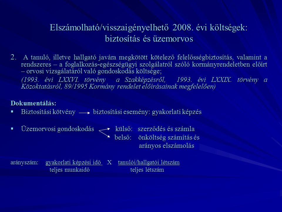 Elszámolható/visszaigényelhető 2008. évi költségek: biztosítás és üzemorvos 2.