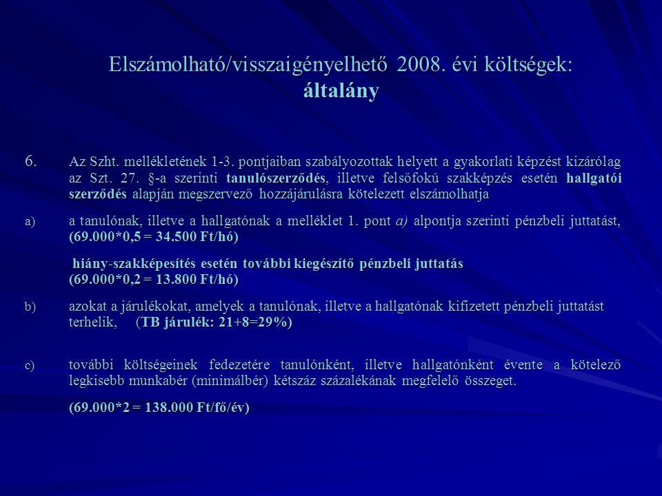 Elszámolható/visszaigényelhető 2008. évi költségek: általány 6.