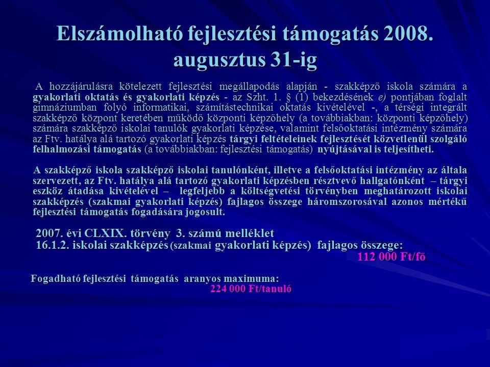 Elszámolható fejlesztési támogatás 2008.