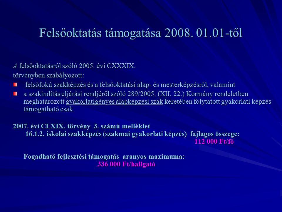 Felsőoktatás támogatása 2008. 01.01-től A felsőoktatásról szóló 2005.