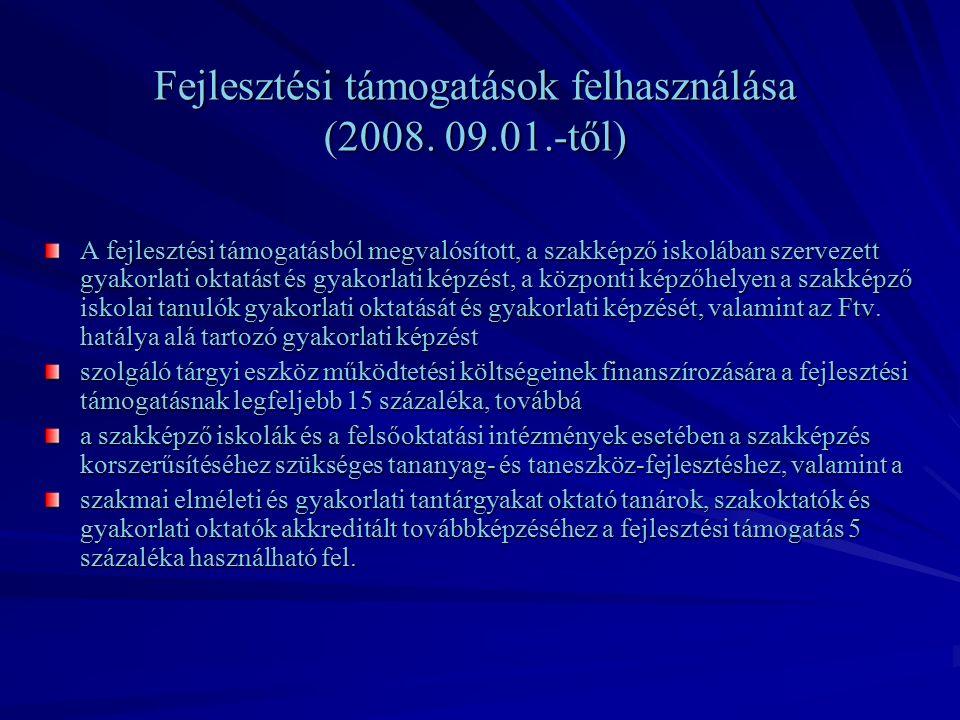Fejlesztési támogatások felhasználása (2008.