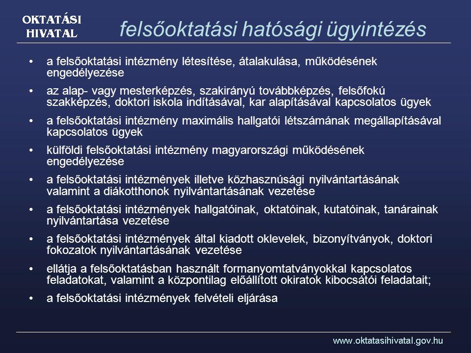 ekvivalencia bizonyítványok, valamint a oklevelek és tudományos fokozatok által tanúsított végzettségi szint, továbbá a szakképesítések és a felsőfokú végzettséghez kapcsolódó szakképzettségek elismerése bizonyítványok (külföldi nyelvvizsga-bizonyítványok és egyéb vizsgák) nyelvvizsga-egyenértékűsége bel- és külföldi szervek és személyek számára a külföldi oktatási rendszerekről, a külföldi felsőoktatási intézményekről, a felsőfokú végzettséget tanúsító oklevelek megszerzésének feltételeiről szóló tájékoztatás; a külföldi hivatalos eljárásban való felhasználás céljából a hazai felsőoktatási intézményekben folytatott tanulmányokról, illetőleg hazai felsőfokú végzettséget tanúsító oklevelekről való hatósági bizonyítvány kiállítása; az ENIC és NARIC hálózati tagság feladatai; a más államok és nemzetközi szervezetek ekvivalencia-ügyekkel foglalkozó központjaival való kapcsolattartással és együttműködéssel kapcsolatos feladatok betölti az európai közösségi jog alapján a munkavállalás céljából történő elismerés nemzeti információs központjának szerepét.