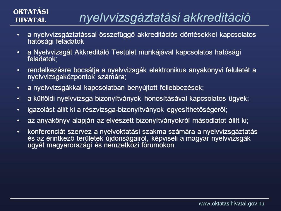 nyelvvizsgáztatási akkreditáció a nyelvvizsgáztatással összefüggő akkreditációs döntésekkel kapcsolatos hatósági feladatok a Nyelvvizsgát Akkreditáló