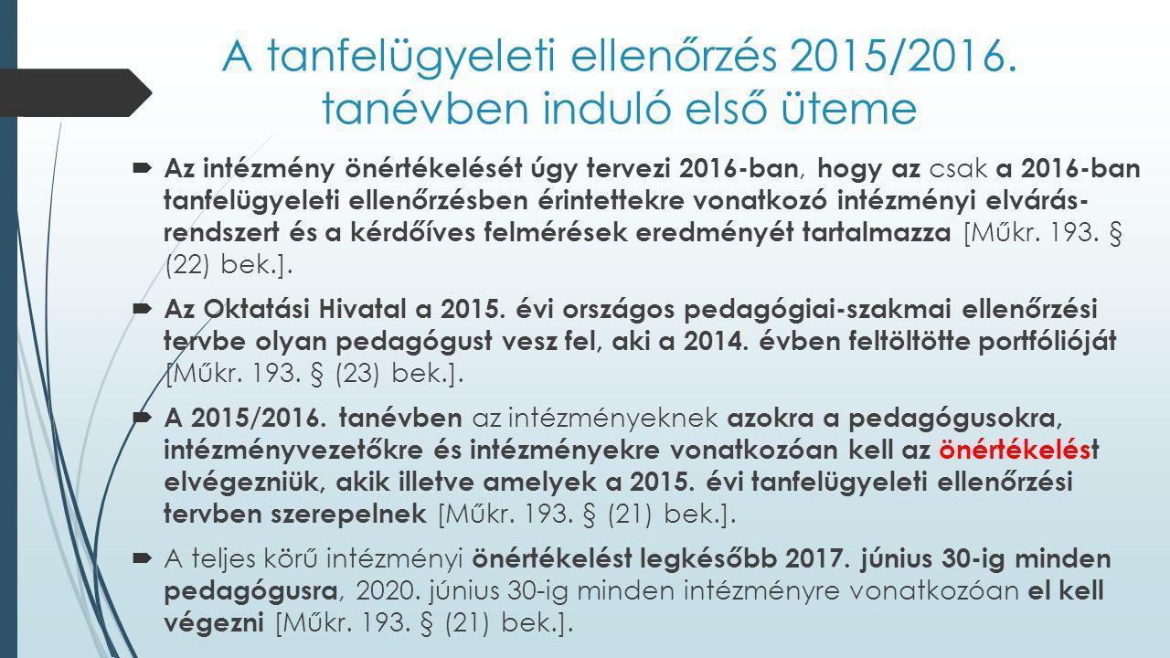 A tanfelügyeleti ellenőrzés 2015/2016. tanévben induló első üteme  Az intézmény önértékelését úgy tervezi 2016-ban, hogy az csak a 2016-ban tanfelügy